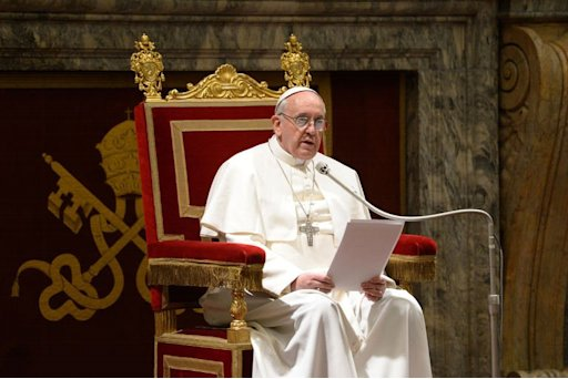 This picture released by the Vatican press office on March 15, 2013 shows Pope Francis delivering a speech