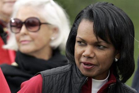 Former U.S. Secretary of State Condoleeza Rice attends closing ceremonies of the Presidents Cup golf tournament in San Francisco
