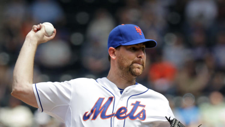 New York Mets starter Mike Pelfrey pitches during the first inning of a baseball game against the San Francisco Giants, Saturday, April 21, 2012, at Citi Field in New York.  (AP Photo/Seth Wenig).