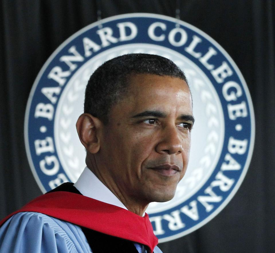 President Barack Obama delivers the commence address at Barnard College, Monday, May 14, 2012, in New York. (AP Photo/Pablo Martinez Monsivais)