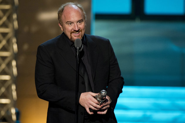 "FILE - In this April 28, 2012 file photo, comedian Louis C.K. from the FX comedy ""Louie"" appears onstage at The 2012 Comedy Awards in New York. After selling a comedy special directly to fans and upending the comedy business, Louis C.K. is taking the same approach with tickets to his next tour. The comedian announced Monday, June 25, that he'll charge a flat, no-fee rate of $45 to all of the shows on a 39-city tour he kicks off in October. Tickets will bypass ticketing services and be available only through louisck.com. Louis C.K.'s show ""Louie"" debuts its third season on FX on Thursday. (AP Photo/Charles Sykes, file)"