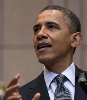 President Barack Obama speaks at the  Holocaust Memorial Museum in Washington, Monday, April 23, 2012. (AP Photo/Carolyn Kaster)