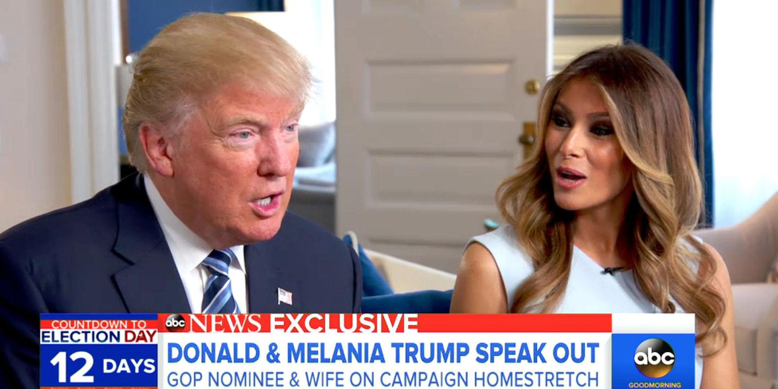 Donald Trump Gave Melania Some Big News During Their 'GMA' Interview