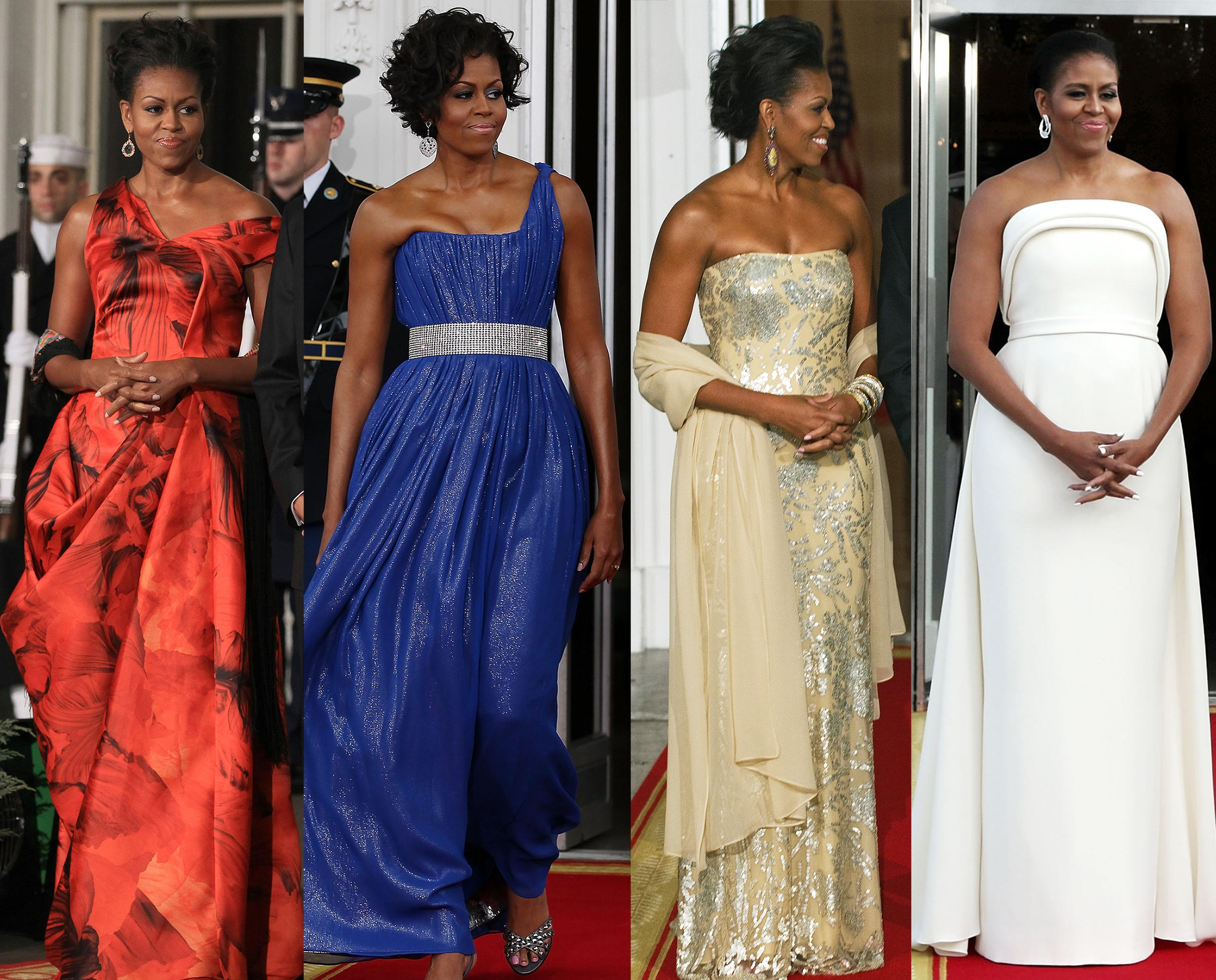 All of Michelle Obama's State Dinner Dresses