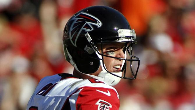 Atlanta Falcons quarterback Matt Ryan (2) reacts after his 80-yard touchdown pass to Julio Jones during the third quarter of an NFL football game against the Tampa Bay Buccaneers, Sunday, Nov. 25, 2012, in Tampa, Fla. (AP Photo/Reinhold Matay)