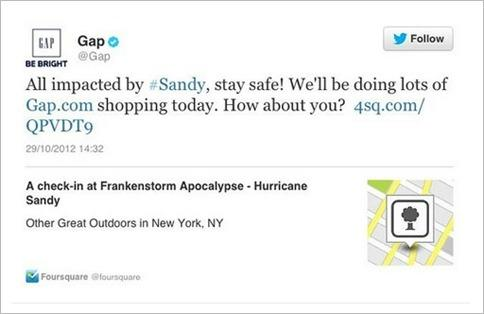 Gap Criticized For Insensitive Tweet During Hurricane Sandy