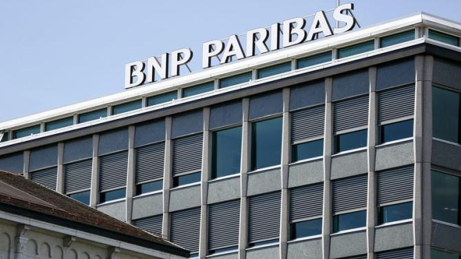 BNP Paribas sign is pictured on a building of the bank in Geneva