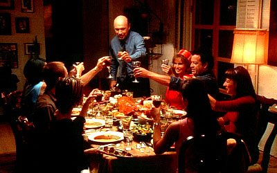 Patriarch Martin ( Hector Elizondo ) makes an announcement to his dinner guests (counter-clockwise from left) April ( Marisabel Garcia ), Yolanda ( Constance Marie ), Andy ( Nikolai Kinski ), Maribel