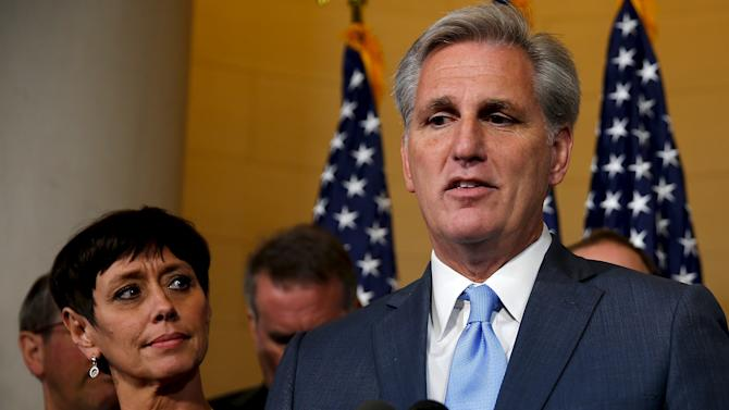 McCarthy explains his decision to pull out of a Republican caucus secret ballot vote to determine the nominee to replace retiring House Speaker John Boehner (R-OH), on Capitol Hill in Washington
