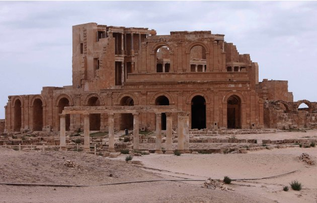 A general view shows the Roman theatre in the archaeological site of Sabratha on Libya's Mediterreanean coast