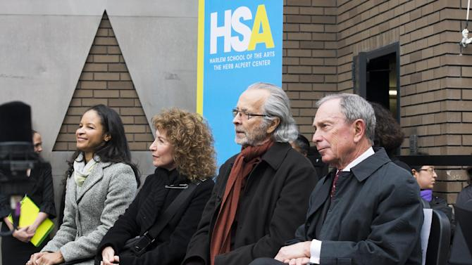 "From left to right, Yvette L. Campbell, Lani Hall, Herb Albert and Mayor Michael R. Bloomberg attend the ""Harlem School of the Arts - The Herb Alpert Center"" building naming ceremony, on Monday, March 11, 2013 in New York. (Photo by Charles Sykes/Invision for Harlem School of the Arts/AP Images)"
