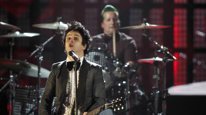 Green Day's Armstrong and drummer Cool perform during the 2015 Rock and Roll Hall of Fame Induction Ceremony in Cleveland