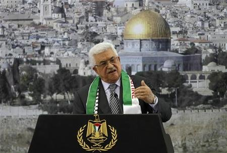 Palestinian President Mahmoud Abbas speaks during a ceremony marking the eighth anniversary of the death of late Palestinian leader Yasser Arafat in the West Bank city of Ramallah