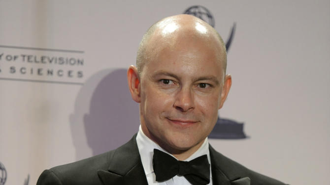 "Rob Corddry poses backstage with the award for outstanding special class: short-format live-action entertainment programs for ""Children's Hospital"" at the 2012 Creative Arts Emmys at the Nokia Theatre on Saturday, Sept. 15, 2012, in Los Angeles. (Photo by Chris Pizzello/Invision/AP)"