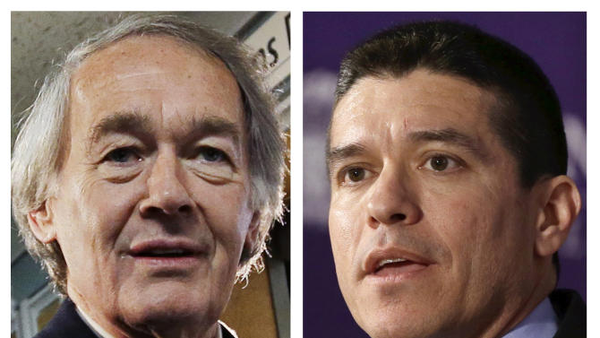 FILE - This panel of 2013 file photos show Democrat U.S. Rep. Ed Markey, left, and Republican Gabriel Gomez, right, candidates for U.S. Senate in the June 24, 2013 special election, being held to fill the seat vacated when John Kerry was appointed as secretary of state. (AP Photos, File)