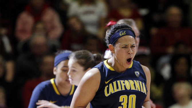 California 's Mikayla Lyles (30) celebrates after scoring against Stanford during the first half of an NCAA college basketball game in Stanford, Calif., Sunday, Jan. 13, 2013. (AP Photo/Marcio Jose Sanchez)