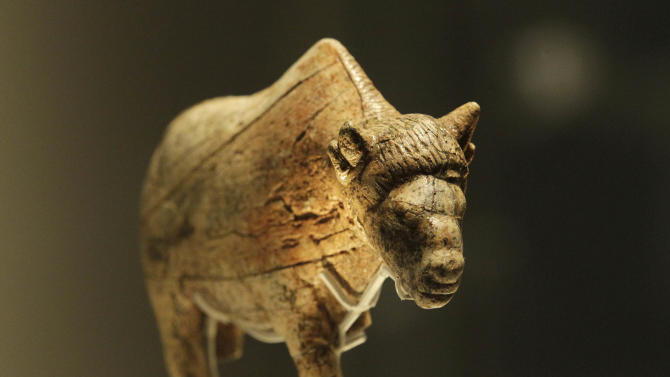 A sculpture of an adult female bison worked from a large piece of mammoth tusk dates at least 21,000 years old, discovered at Zaraysk, Osetr Valley, Russia, is seen on display in an exhibition 'Ice Age Art : arrival of the modern mind' at the British Museum in London, Tuesday, Feb. 5, 2013. The exhibition present masterpieces create from the last Ice Age between 40,000 and 10,000 years ago, drawn from across Europe, by artists with modern minds and presented alongside modern works  to illustrate the fundamental human desire to communicate and make art as a way of understanding ourselves and our place in the world. (AP Photo/Sang Tan)