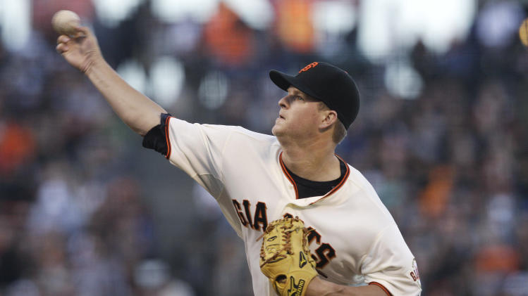 San Francisco Giants pitcher Matt Cain delivers against the Houston Astros during the third inning of a baseball game in San Francisco, Wednesday, June 13, 2012. (AP Photo/Jeff Chiu)