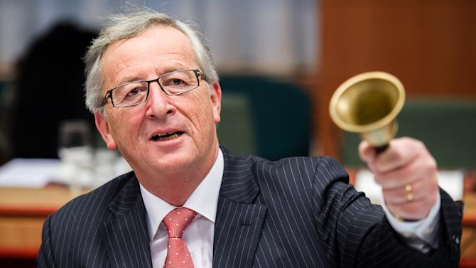 The President of the Eurogroup Jean-Claude Juncker rings the bell to open the meeting during an Eurogroup finance ministers meeting at the EU Council in Brussels on Monday, Jan. 21, 2013.  The Eurogroup ministers will be choosing a new eurogroup leader. (AP Photo/Geert Vanden Wijngaert)
