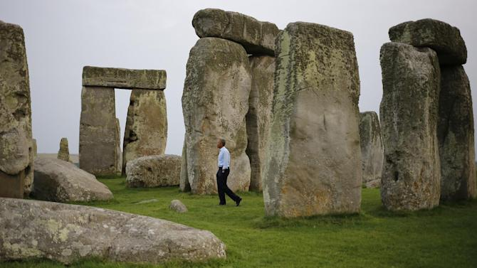 "FILE - In this Friday, Sept. 5, 2014 file photo, President Barack Obama visits Stonehenge after leaving the NATO summit in Newport, Wales. Obama pronounced England's Stonehenge ""cool"" during a side trip earlier this month. TV viewers can check it out for themselves with Smithsonian Channel's two-hour special on the ancient stone circle.  ""Stonehenge Empire"" airs Sunday, Sept. 21, 2014, at 8 p.m. EDT on Smithsonian Channel. (AP Photo/Charles Dharapak, file)"