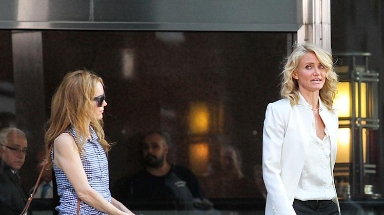 Cameron Diaz and Leslie Mann have an argument while shooting, along with a large dog on the set of