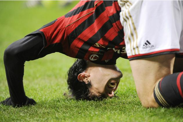 AC Milan's Kaka reacts during their Italian Serie A soccer match against Bologna in Milan
