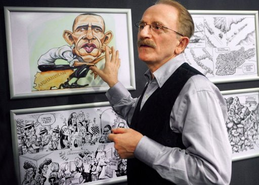 Kallaugher points to drawing of US President Barack Obama