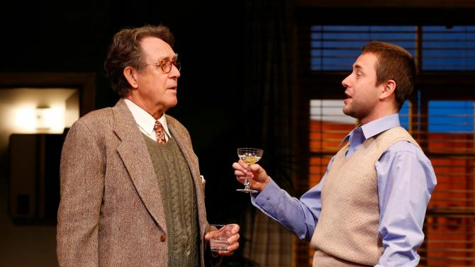 """In this image released by David Gersten & Sam Rudy Media, Larry Pine, left, and Vincent Kartheiser perform in a scene from """"Billy & Ray"""", at the Vineyard Theatre in New York. (AP Photo/David Gersten & Sam Rudy, Carol Rosegg)"""