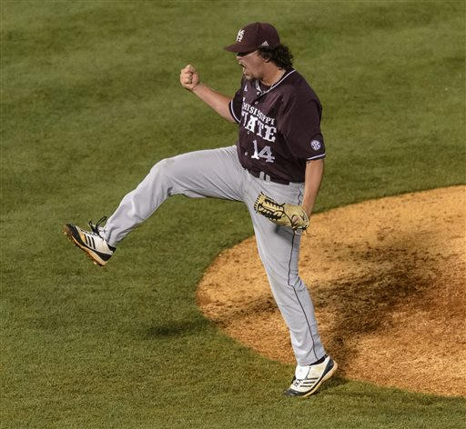 Mississippi State relief pitcher Jonathan Holder reacts after the final strike as he shut down Texas A&M in the bottom of the ninth to preserve a 6-4 win and a day off Friday during the SEC Baseball T
