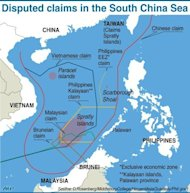 Graphic on the disputed islands in the South China Sea