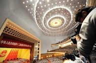 The inside of the Great Hall of the People, seen during the opening session of the National People's Congress (NPC) in Beijing on March 5, 2013. China targeted 2013 economic growth of 7.5 percent and vowed to tackle corruption and improve the quality of life as an annual parliamentary session to seal its transition to new leadership started