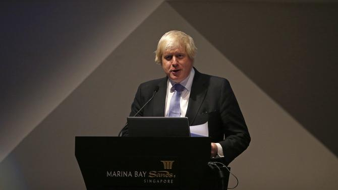 Mayor of London Boris Johnson speaks about FinTech at the Art Science Museum during his visit in Singapore