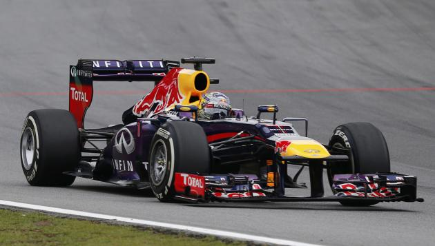 Sebastian Vettel of Germany drives during the Brazilian F1 Grand Prix at the Interlagos circuit in Sao Paulo