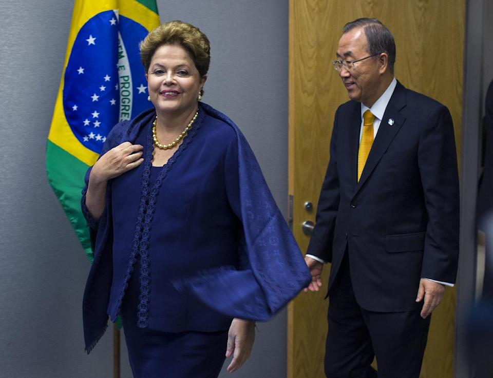 Dilma Rousseff, president of Brazil, arrives with United Nations Secretary-General Ban Ki-moon for a photo opportunity during the 68th session of the United Nations General Assembly at U.N. headquarters, Tuesday, Sept. 24, 2013. (AP Photo/Craig Ruttle)