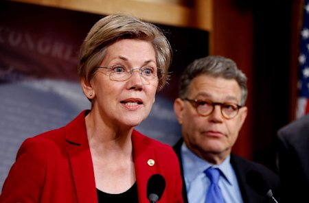 FILE - In this March 25, 2015 file photo, Sen. Elizabeth Warren, D-Mass, left, speaks at a new conference on Capitol Hill in Washington. Liberal Democ...