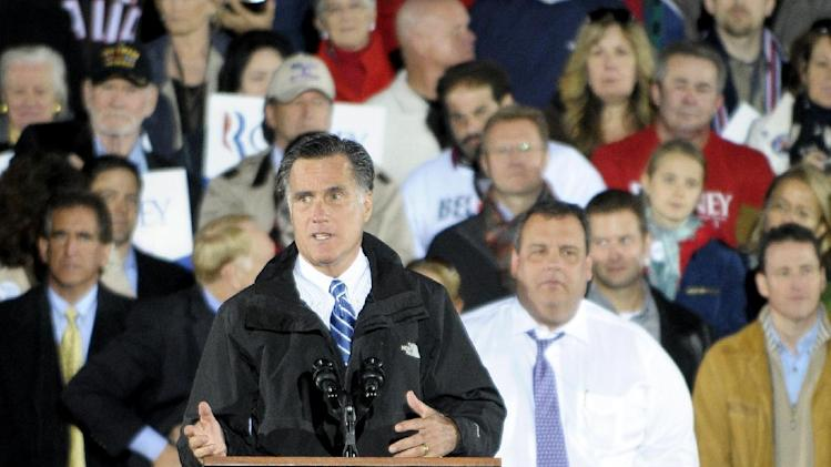 Republican presidential candidate and former Massachusetts Gov. Mitt Romney campaigns in Cuyahoga Falls, Ohio, Tuesday, Oct. 9, 2012. (AP Photo/Mark Stahl)