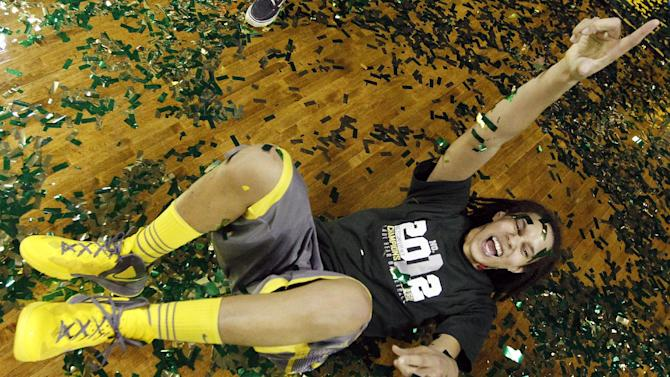 Baylor's Brittney Griner celebrates her team's 56-51 win over Texas Tech in an NCAA college basketball game, Saturday, Feb. 18, 2012, in Waco, Texas. (AP Photo/LM Otero)