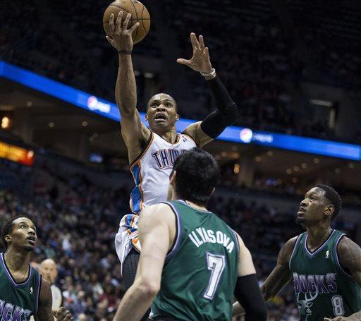 Durant, Westbrook lead Thunder past Bucks, 109-99
