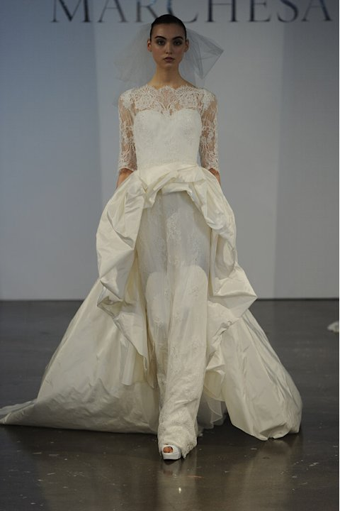 This Marchesa Gown Takes The High Low Hem Trend To Extreme With A Supershort Peplum Front And Long Train In Back