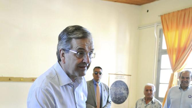 Leader of opposition New Democracy party and former PM Samaras votes at a polling station at the city of Pilos