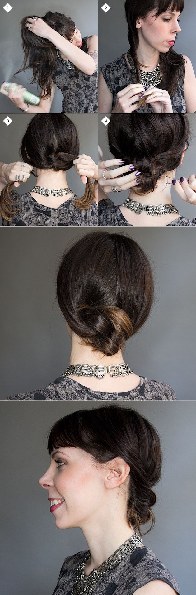 Knotted chignon hairstyle