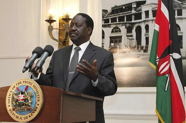 "Kenyan Prime Minister, Raila Odinga, gestures as he addresses the foreign journalists in Nairobi, Kenya, Tuesday, June 12, 2012. Odinga said that Kenyan forces are preparing for a ""final onslaught"" on the Somali port town of Kismayo, which is controlled by al-Shabab militants, and Odinga said that they are seeking U.S. and European assistance to aid in the planned operation. (AP Photo/Sayyid Azim)"