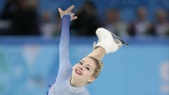 FILE - In this Feb. 20, 2014, file photo, Gracie Gold of the United States competes in the women's free skate figure skating finals at the Iceberg Skating Palace during the 2014 Winter Olympics in Sochi, Russia. American Gracie Gold is a favorite at Skate America, the first of six Grand Prix series events. (AP Photo/Ivan Sekretarev, File)