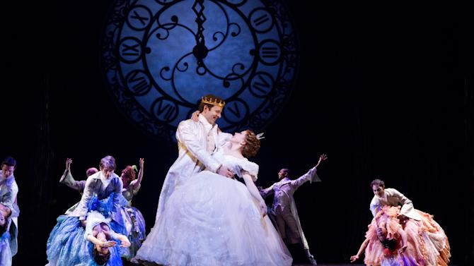 "This theater image released by Sam Rudy Media Relations shows Carley Rae Jepsen as Cinderella, center right, dancing with Joe Carroll as the Prince, during a performance of ""Rodgers + Hammerstein's Cinderella on Broadway."" Three musicals this week have added Thursday matinees to their eight-show weeks in an attempt to offer more options to audience-goers and stand out from the rest of the pack. The shows making the move are ""Rodgers & Hammerstein's Cinderella,"" ""Mamma Mia!"" and ""The Phantom of the Opera."" (AP Photo/Sam Rudy Media Relations)"