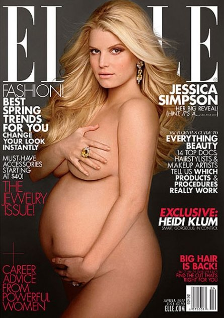 Jessica Simpson appears nude on the April 2012 cover of ELLE magazine -- ELLE Magazine