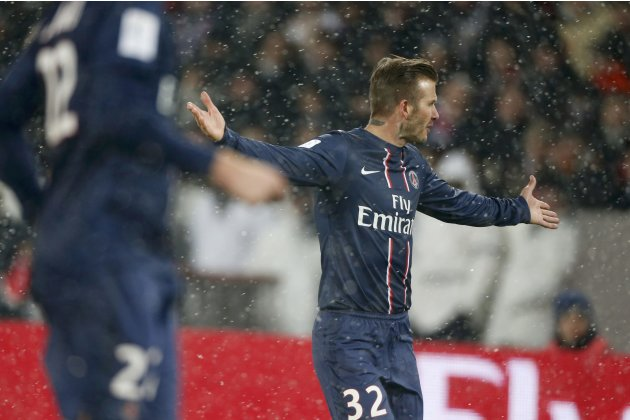 Paris Saint-Germain's Beckham reacts during their French Ligue 1 soccer match against Olympic Marseille at Parc des Princes stadium in Paris