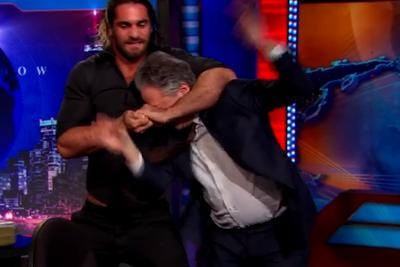 Seth Rollins invades 'The Daily Show,' puts Jon Stewart in a headlock