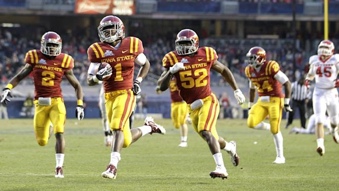 Iowa State' Jarvis West (1) runs a kickoff into the end zone in the second quarter of the Pinstripe Bowl NCAA college football game against Rutgers, Friday, Dec. 30, 2011, at Yankee Stadium in New York. The touchdown did not count as Iowa State was penalized on a flag on the play. ( AP Photo/Julio Cortez)