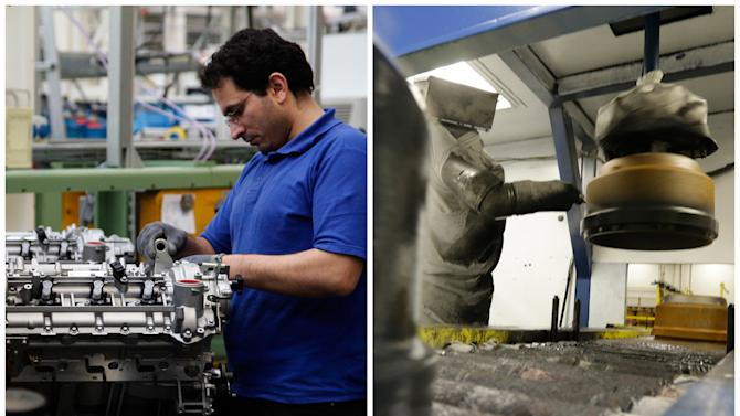 This combination of Associated Press file photos shows a worker, left, assembling a motor in a Mercedes Benz factory in 2008 in Berlin, and a robot, right, painting a brake drum at Webb Wheel Products, in 2013, in Cullman, Ala.. Thanks to robots, Webb Wheel hasn't added a factory worker in over three years, though it's making 300,000 more drums annually, a 25 percent increase. (AP Photo)