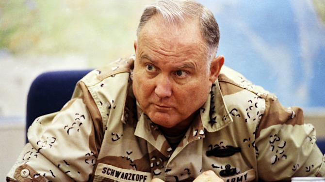 """FILE - In this Sept. 14, 1990 file photo, U.S. Army Gen. H. Norman Schwarzkopf, commander of U.S. forces in Saudi Arabia, answers questions during an interview in Riyadh. A memorial service for the Desert Storm commander famously nicknamed """"Stormin' Norman"""" will be held at the U.S. Military Academy's chapel Thursday afternoon, Feb. 28, 2013. His remains will be buried afterward at West Point's cemetery.  (AP Photo/David Longstreath, File)"""
